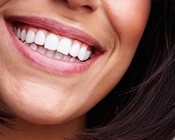Closeup of healthy smile after gum recontouring