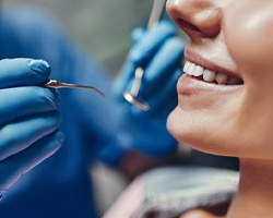 Close up of woman receiving dental checkup